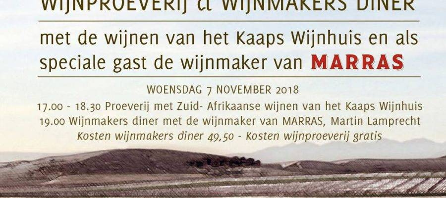 Wijnmakersdiner Marras De Wilmersberg 7 november 2018